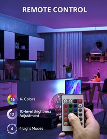 Striscia LED RGB, Strisce LED,TECKIN 5M LED TV Retroilluminazione Striscia,RGB 5050 Luce con 16 Colori,Con telecomando a infrarossi, Adatto per TV, Camera da Letto, Feste e Decorazioni per la Casa - 3