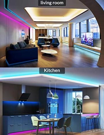Striscia LED RGB, Strisce LED,TECKIN 5M LED TV Retroilluminazione Striscia,RGB 5050 Luce con 16 Colori,Con telecomando a infrarossi, Adatto per TV, Camera da Letto, Feste e Decorazioni per la Casa - 4