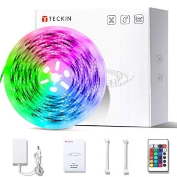 Striscia LED RGB, Strisce LED,TECKIN 5M LED TV Retroilluminazione Striscia,RGB 5050 Luce con 16 Colori,Con telecomando a infrarossi, Adatto per TV, Camera da Letto, Feste e Decorazioni per la Casa - 1