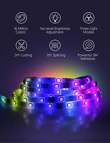 Striscia LED RGB, Strisce LED,TECKIN 5M LED TV Retroilluminazione Striscia,RGB 5050 Luce con 16 Colori,Con telecomando a infrarossi, Adatto per TV, Camera da Letto, Feste e Decorazioni per la Casa - 5