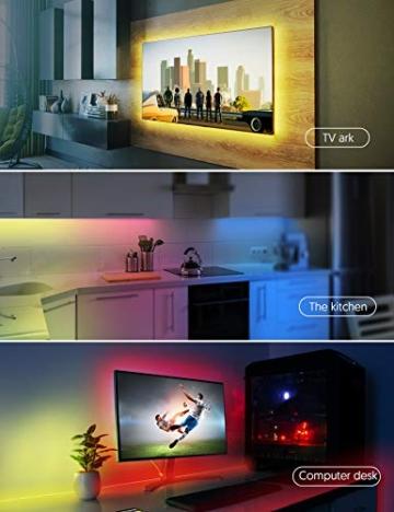 Striscia LED RGB, Strisce LED,TECKIN 5M LED TV Retroilluminazione Striscia,RGB 5050 Luce con 16 Colori,Con telecomando a infrarossi, Adatto per TV, Camera da Letto, Feste e Decorazioni per la Casa - 6