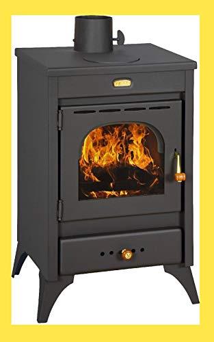Stufa a legna carbone acciaio Kir 9/12 Kw vetro ceramico piastra cottura - 1
