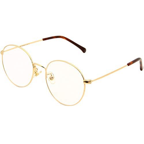 Cyxus Occhiali luce blu bloccanti per il blocco della cefalea UV [Anti Eyestrain] Occhiali retrò, unisex (uomini/donne) (Oro) - 1