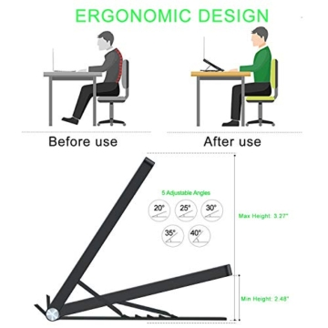Tendak Supporto per laptop,laptop pieghevole,supporto portatile portatile,supporto per notebook,supporto per laptop regolabile,staffa dal design ergonomico,adatto per laptop/tablet da 9,7-17,3 pollici - 2