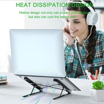 Tendak Supporto per laptop,laptop pieghevole,supporto portatile portatile,supporto per notebook,supporto per laptop regolabile,staffa dal design ergonomico,adatto per laptop/tablet da 9,7-17,3 pollici - 4