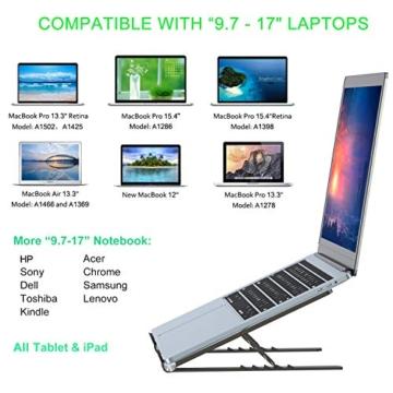 Tendak Supporto per laptop,laptop pieghevole,supporto portatile portatile,supporto per notebook,supporto per laptop regolabile,staffa dal design ergonomico,adatto per laptop/tablet da 9,7-17,3 pollici - 7