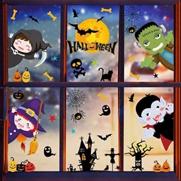 Tuopuda Halloween Decorazioni Adesivi per Finestre Vetrine Gatto Pipistrello Fantasma Vetrofanie Raccapriccianti Halloween Sticker Accessori Halloween per Halloween Party Festival Fantasma - 3