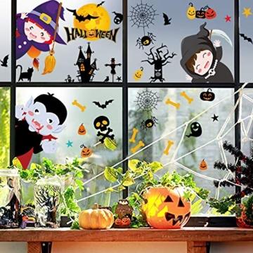 Tuopuda Halloween Decorazioni Adesivi per Finestre Vetrine Gatto Pipistrello Fantasma Vetrofanie Raccapriccianti Halloween Sticker Accessori Halloween per Halloween Party Festival Fantasma - 4