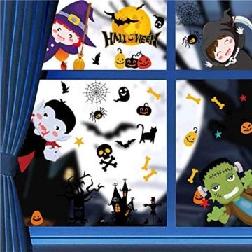 Tuopuda Halloween Decorazioni Adesivi per Finestre Vetrine Gatto Pipistrello Fantasma Vetrofanie Raccapriccianti Halloween Sticker Accessori Halloween per Halloween Party Festival Fantasma - 1