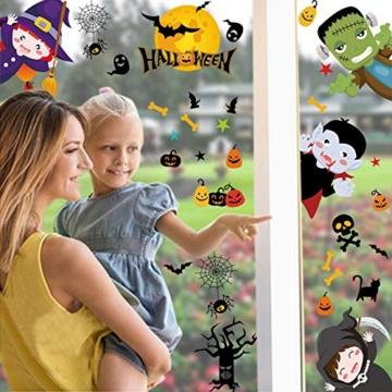 Tuopuda Halloween Decorazioni Adesivi per Finestre Vetrine Gatto Pipistrello Fantasma Vetrofanie Raccapriccianti Halloween Sticker Accessori Halloween per Halloween Party Festival Fantasma - 5
