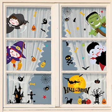 Tuopuda Halloween Decorazioni Adesivi per Finestre Vetrine Gatto Pipistrello Fantasma Vetrofanie Raccapriccianti Halloween Sticker Accessori Halloween per Halloween Party Festival Fantasma - 6
