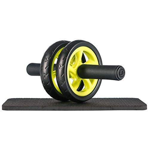 Ultrasport Trainer AB Wheel, Roller e Ruota per Addominali, Ottimo come Attrezzo per il Fitness, Supporto una Dieta Dimagrante, Doppie Rotelle e Base di Appoggio per le Ginocchia, Verde, Taglia Unica - 1