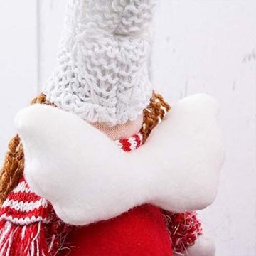 Valery Madelyn Decorazioni Natalizie con Angioletti Set di 2, 6 Pollici / 16 cm Stoffa Rossa e Bianca Seduta Gemelle Ragazze Feltro Natalizio Figurine di Angelo Ornamenti Decorazioni - 3