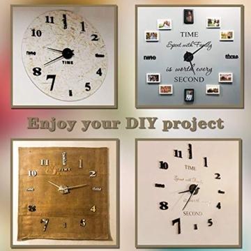 Vangold Modern 3D DIY Orologi da Parete Decorazioni Grandi Adesivi per la casa Decorazione-2 Anni di Garanzia (Nero) - 2