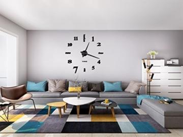 Vangold Modern 3D DIY Orologi da Parete Decorazioni Grandi Adesivi per la casa Decorazione-2 Anni di Garanzia (Nero) - 7