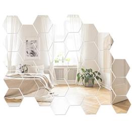 Xinzistar 36 Pezzi Specchio Adesivo Acrilico Specchio da Parete Forma di Esagono Decorazione DIY Specchi per Parete Muro Casa Armadio Piastrelle da Bagno - 1