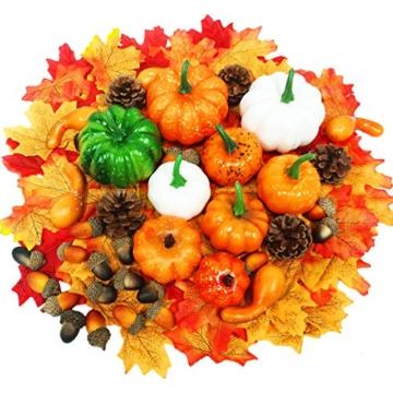 Yeelan 139 Pezzi di zucche Artificiali del Ringraziamento, Set di Decorazioni Autunnali con Zucca, Foglie di Acero, Zucca, pigne, Set di Verdure Raccolte per Halloween/Matrimonio/casa/Natale - 1