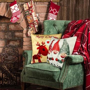 YIRSUR Natale Federa, 4pcs Federa Cuscini Cotone Biancheria Buon Natale Babbo Alce per divani Decorativo Biancheria Cuscino Decorazioni Natalizie Divano (45x45cm) (Colorful) - 2