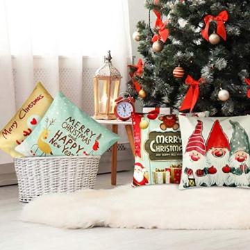 YIRSUR Natale Federa, 4pcs Federa Cuscini Cotone Biancheria Buon Natale Babbo Alce per divani Decorativo Biancheria Cuscino Decorazioni Natalizie Divano (45x45cm) (Colorful) - 4