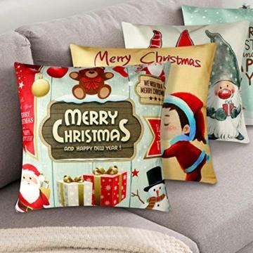YIRSUR Natale Federa, 4pcs Federa Cuscini Cotone Biancheria Buon Natale Babbo Alce per divani Decorativo Biancheria Cuscino Decorazioni Natalizie Divano (45x45cm) (Colorful) - 5