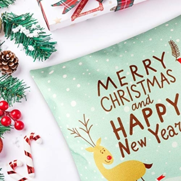 YIRSUR Natale Federa, 4pcs Federa Cuscini Cotone Biancheria Buon Natale Babbo Alce per divani Decorativo Biancheria Cuscino Decorazioni Natalizie Divano (45x45cm) (Colorful) - 6