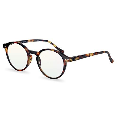 ZENOTTIC Occhiali da Lettura Presbiopia Anti Luce Blu con Lenti Antiriflesso Uomo e Donna Leggero Telaio Rotondo Vintage Occhiali (TARTARUGA, 0.00x) - 1