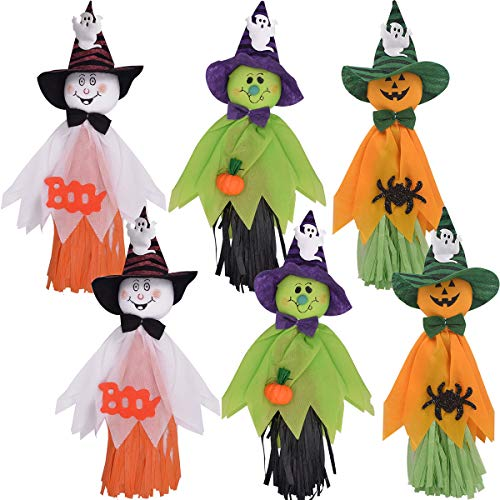 ZSWQ Ciondolo Bambola Fantasma di Halloween Elementi Decorativi di Zucche, Fantasmi E Ragni, per La Casa, Giardino,Bar, KTV, Supermercato Decorazioni, 6Pcs - 1