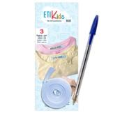 1rotolo di nastro di tessuto di 3metri x 1cm, colore: blu. Etichetta termoadesivo per scrivere con boli. Con Penna. - 1