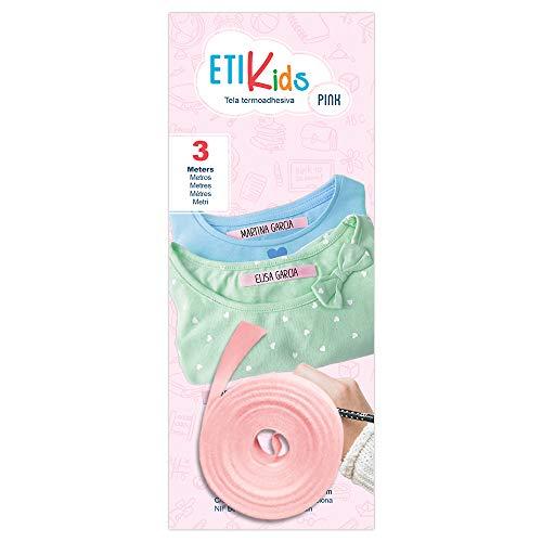 1rotolo di nastro in tessuto da 3metri x 1 cm, di colore rosa Etichetta termoadesiva personalizzabile con scritte a penna. Penna non inclusa. - 1