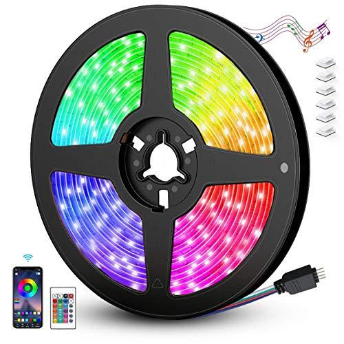 AGPTEK Striscia LED 5M WIFI Autoadesiva 5050 RGB Strisce LED Colorati o il Telecomando di 24-tasti con la Musica/Vocale per TV,Camera da letto,Decorazioni per Feste Natale e per la Casa[Classe A+++] - 1