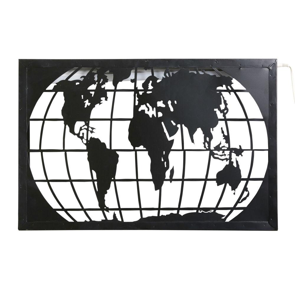 Dove acquistare Applique cartina del mondo in metallo nero intagliato