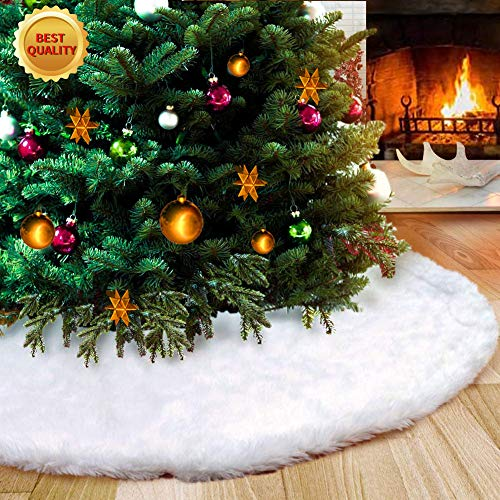AWLGAK Gonna Albero di Natale,122 cm soffice Neve Bianco Natale Decorazioni Albero di Natale Vacanze gonne (48inch) - 1