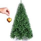 BAKAJI Albero di Natale Pino Cuore d'oro Ecologico e Ignifugo con Base a Croce in Ferro Pieghevole Super Folto Rami Innesto Ad Uncino Colore Verde (210 cm) - 1