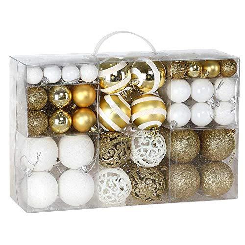 BAKAJI Confezione 100 Palline di Natale Diametro 3/4/6 cm Addobbi e Decorazioni per Albero di Natale (Bianco Oro) - 1