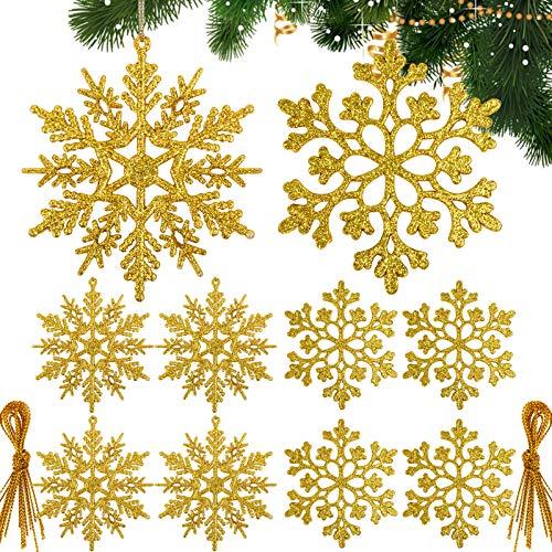 BHGT 24pz Fiocchi di Neve Glitter Oro Decorazioni Natalizie Appese per Albero di Natale Addobbi Natalizi Ornamenti - 1