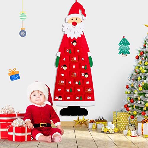 Calendario dell'Avvento di Babbo Natale, Calendario da appendere a parete di Natale Calendario da pupazzo di neve con 24 tasche Tessuto riutilizzabile da appendere Natale Decorazioni natalizie a casa - 1