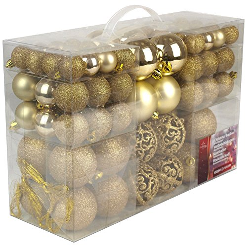 Christmas Gifts Valigia 100 Pezzi Palle di Natale Oro, Gold, 100x - 1
