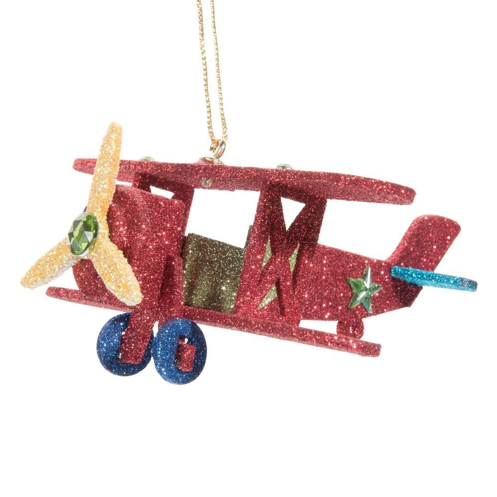Decorazione sospesa natalizia aereo rosso con lustrini Decorazioni di Natale