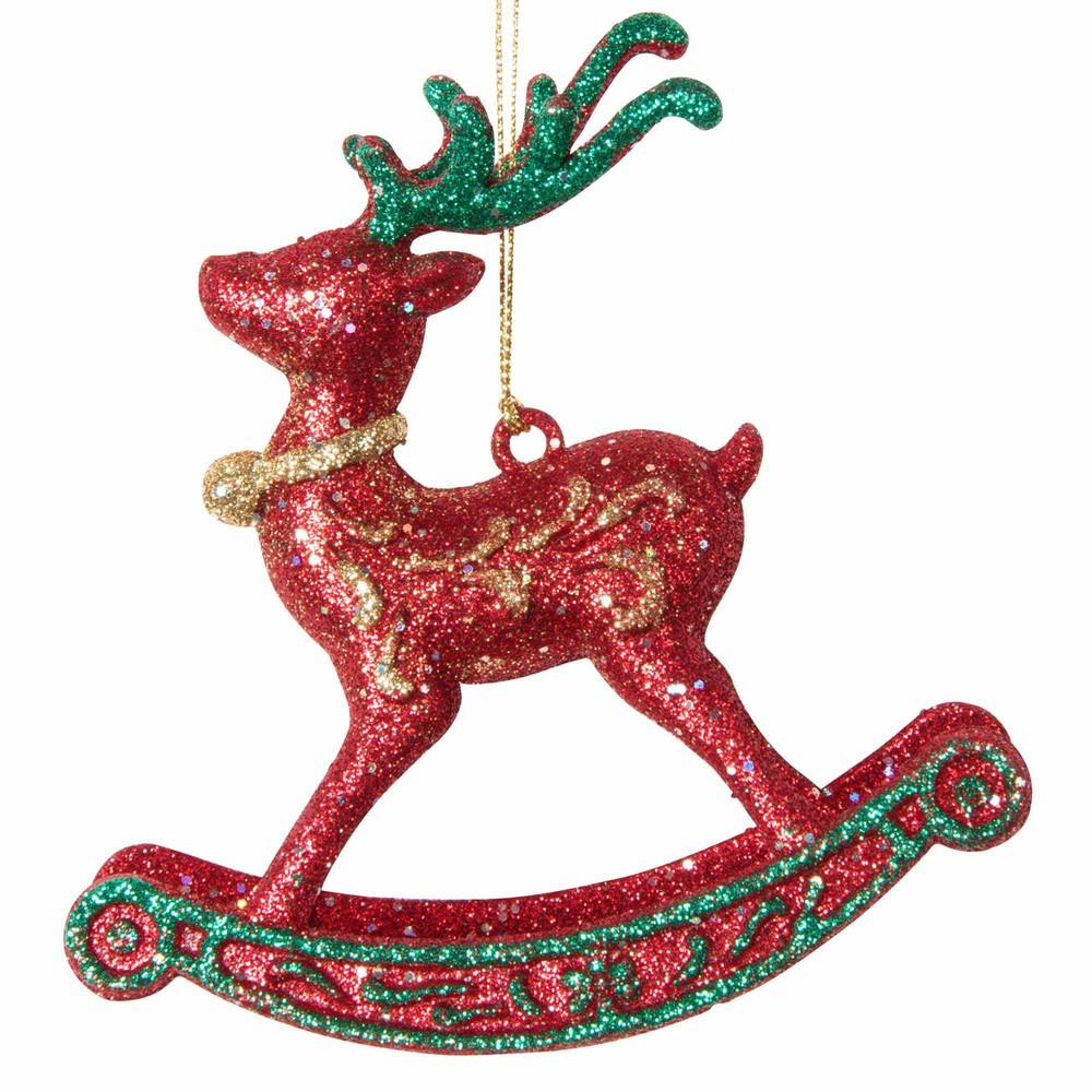 Decorazione sospesa natalizia cavallo a dondolo con paillette Decorazioni di Natale