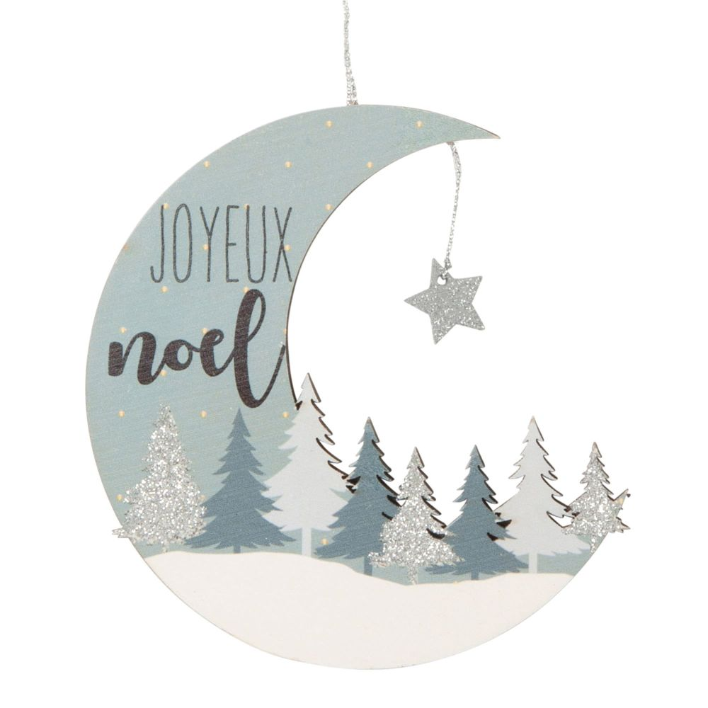 Decorazione sospesa natalizia luna scolpita blu e bianca Decorazioni di Natale