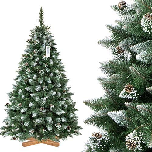 FairyTrees Pino Naturale con Punte innevate, Albero di Natale Artificiale, PVC, pigne Naturali, Supporto in Legno, 180cm - 1