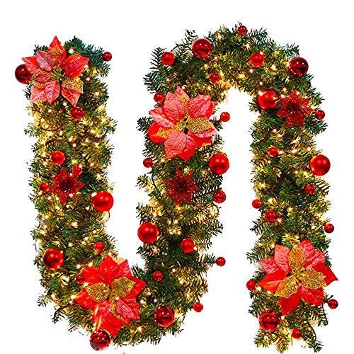 Ghirlanda Natalizia,Ghirlanda per Camino con Luci,Bella Decorazione Natalizia,Ornamento,Ghirlanda Abete per Gli Ambienti di Casa per Scale,Pareti,Porte,5 Colori,2.7M,(Rosso, 1pcs) - 1