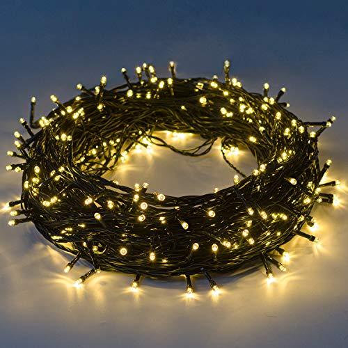 Luci natalizie 12m 120 leds con 8 modalità di memoria end to end estensibile catene luminose esterni ed interni decorazione per giorno di natale alberi casa Halloween festa giardino - bianco caldo - 1
