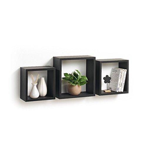 Modul'Home 6RAN789BC - Mensole a cubo, in MDF, 11,8 x 30 x 30 cm, pannello MDF, nero, 3 taglie 23 cm/26,5 cm/30 cm, 2 Unità - 1