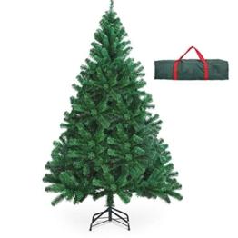 OUSFOT Albero di Natale 180cm con Custodia 800 Rami Supporto Pieghevole in Metallo Alberi di Natale Artificiale PVC Facile da Montare per Natalizie Decorazioni da Interno e All'aperto - 1