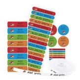Pacchetto di 155 etichette: 100 etichette di tessuto per contrassegnare vestiti + 55 etichette adesive per contrassegnare oggetti/ etichette per abiti/ etichette da scuola. (Colore 1) - 1