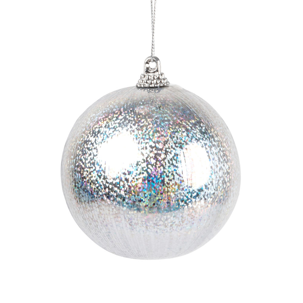 Pallina di Natale argentata con glitter multicolori Decorazioni di Natale