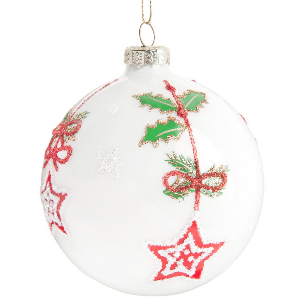 Pallina di Natale bianca con motivo agrifoglio e stelle Decorazioni di Natale