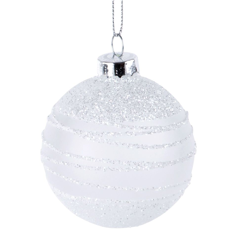 Dove acquistare Pallina di Natale bianca in vetro con motivi e paillette argentate