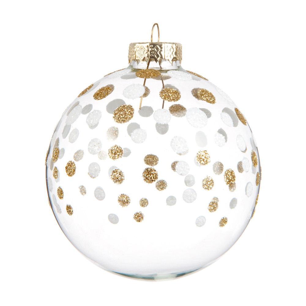 Pallina di Natale in vetro bianco con motivo a puntini dorati Decorazioni di Natale